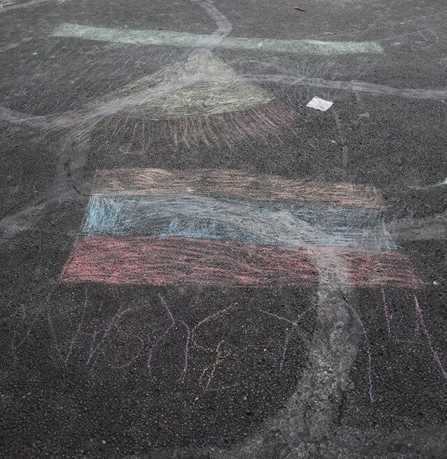 Chalk drawings at Republic Square