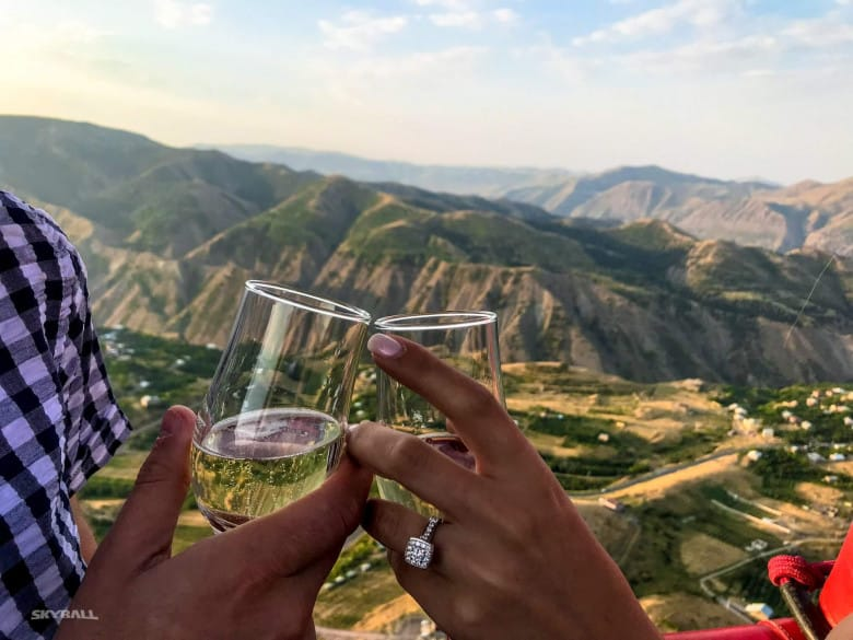 Romantic proposal while flying over Armenian landscapes